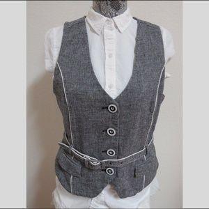 Sz L Gray Belted Women Linen/Cotton #16I Suit Vest